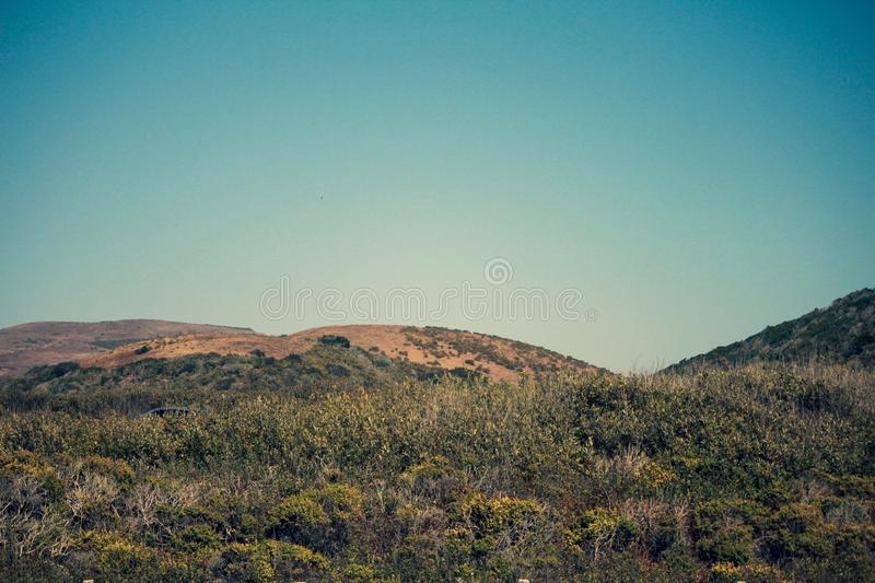 View of the mountains from Pomponio State Beach, Cabrillo Highway, California stock images