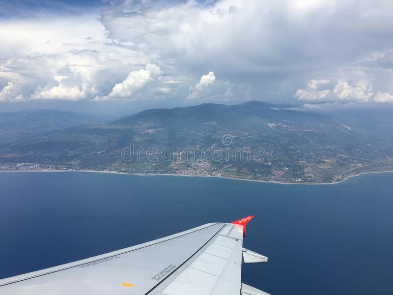 View of mountains in Italy from an Airplane. royalty free stock image