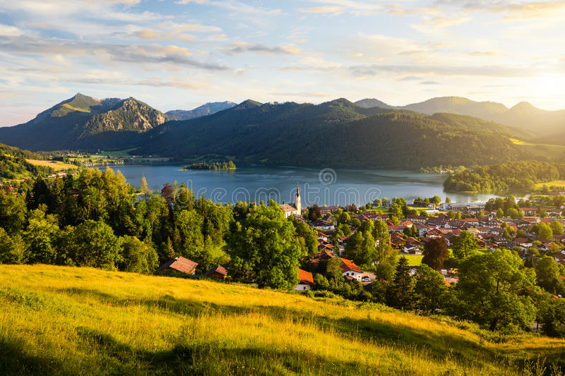 View of mountains and mountain lake during sunset in summer stock photos