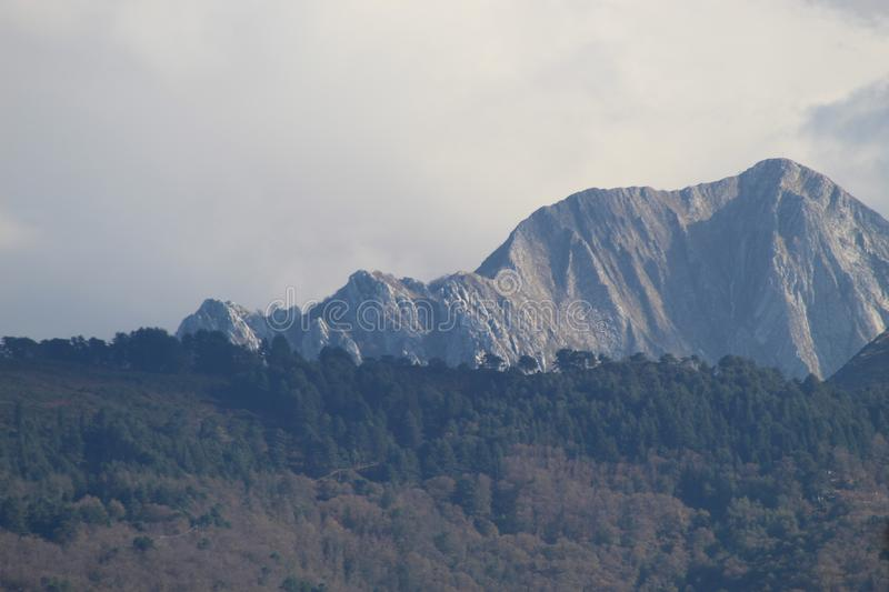 The view of the mountains. These are the mountains , the Alps in Italy at a sunny but also cloudy day stock photography