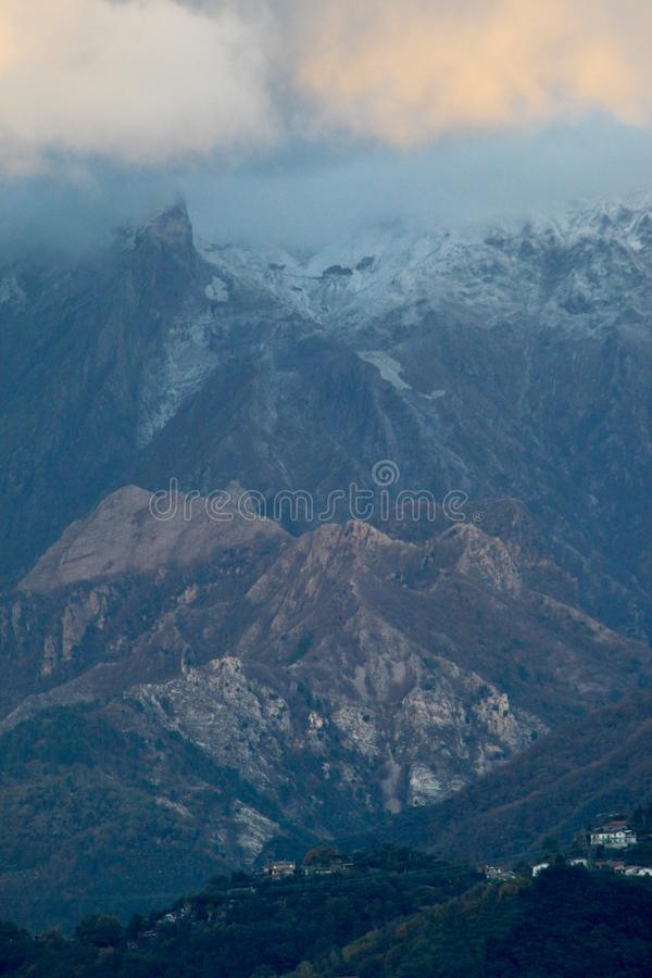 The view of the mountains. These are the mountains , the Alps in Italy at a sunny but also cloudy day royalty free stock photos