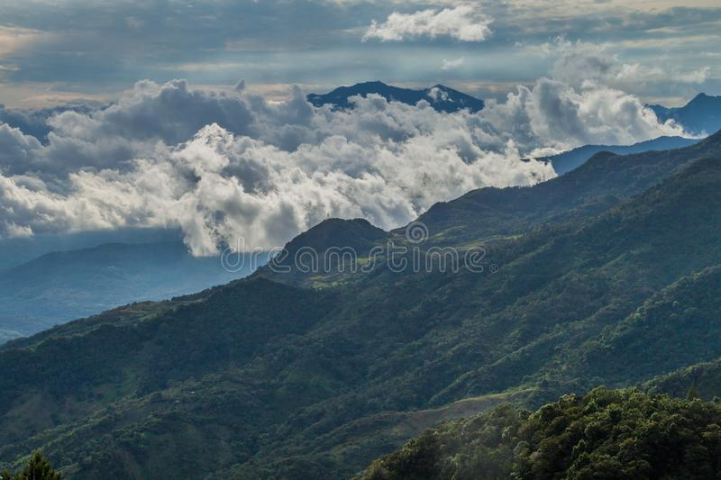 View of mountains in Panama, Baru volcano in the backgrou. Nd royalty free stock photography