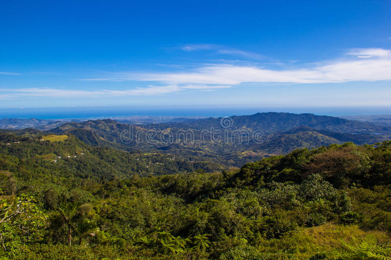View of mountains in Puerto Rico. View of mountain range of mountains in Puerto Rico stock photo