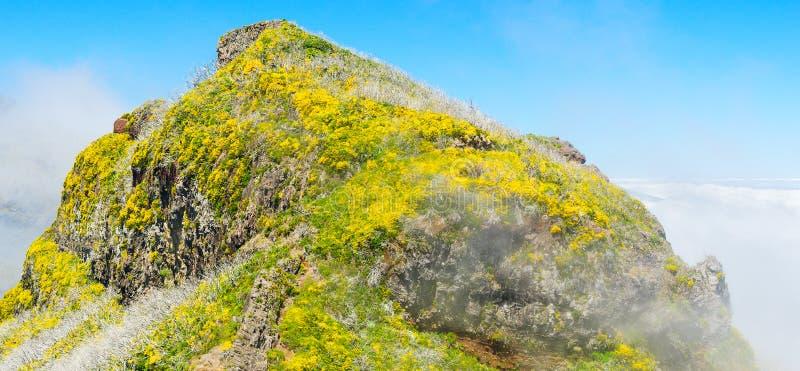View of mountains on the route Pico Ruivo - Encumeada, Madeira Island, Portugal, Europe. Mountain landscape. View of mountains on the route Pico Ruivo stock image