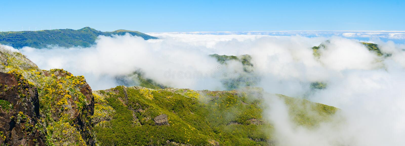 View of mountains on the route Pico Ruivo - Encumeada, Madeira Island, Portugal, Europe. Mountain landscape. View of mountains on the route Pico Ruivo royalty free stock photos