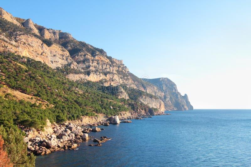 View on mountains and sea stock photos