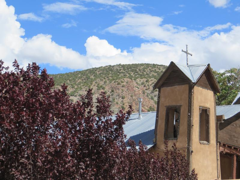 View of mountains and sky outside Chimayo, New Mexcio stock images