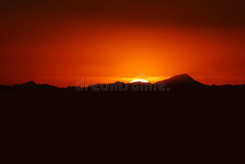 View of mountains surrounding Phoenix at sunset, A stock photos