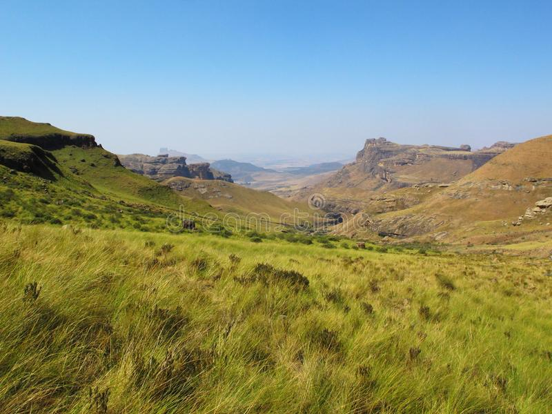 View from mountains, uKhahlamba Drakensberg National Park. View from Hiking Path to Rhino Peak at Garden Castle Reserve of uKhahlamba Drakensberg National Park royalty free stock photography