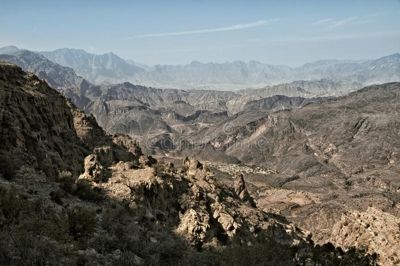 view of the mountains of Wadi Bani Awf in Western Hajar royalty free stock photography