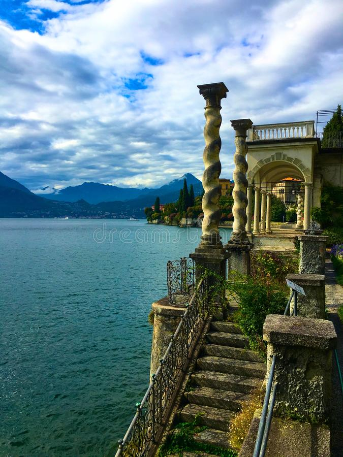 View of the mountains and waters of Lake Como Italy royalty free stock images