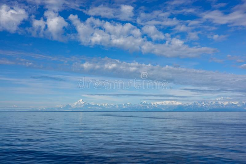 A view of mountains of the Wrangell National Park outside of Hubbard Glacier Alaska from a cruise ship royalty free stock photography