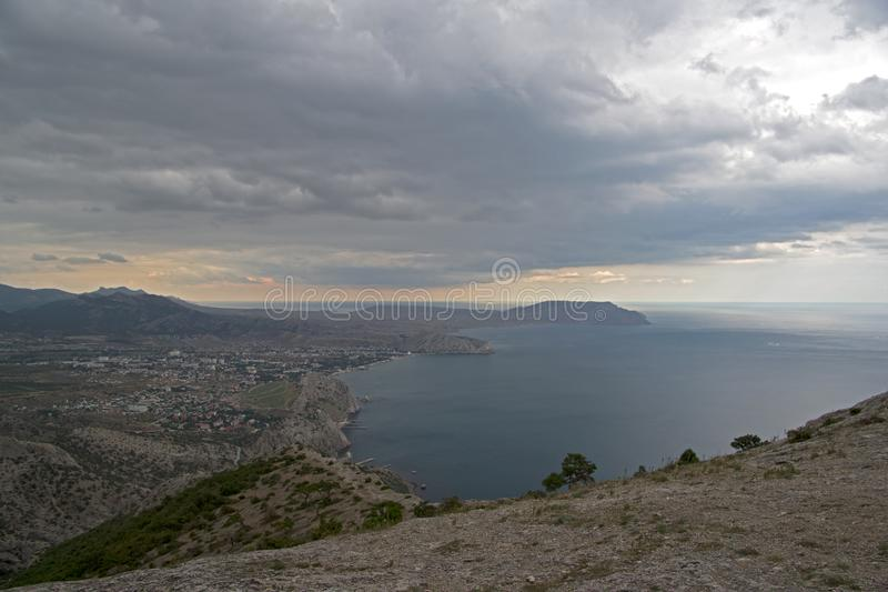 View from the mountainside, bad weather. Black Sea coast, Crime royalty free stock images