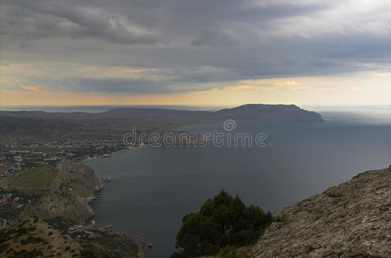 View from the mountainside, bad weather. Black Sea coast, Crime stock photo