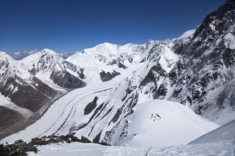 View from mountainside of Khan Tengri peak, Tian Shan. Panoramic view from point above Camp 2 on mountainside of Khan Tengri peak, Central Tian Shan mountains stock photos