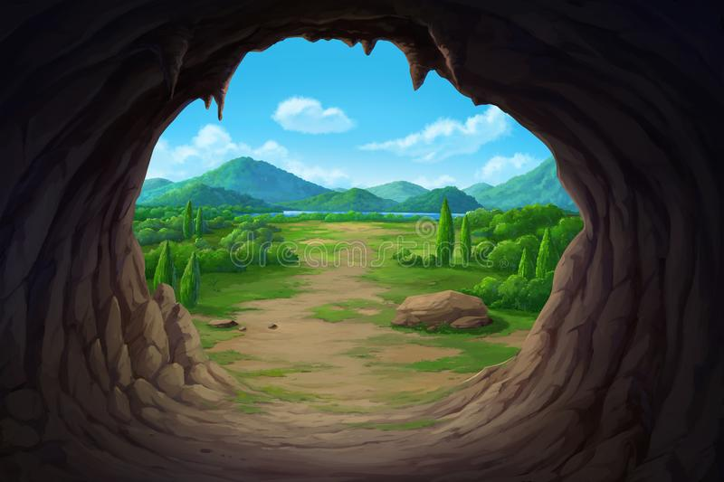 View at the mouth of the cave. View of the mouth of the cave overlooking mountains and rivers royalty free illustration