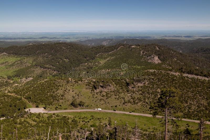 View From Mt. Coolidge Lookout. Looking Northeast from Mount Coolidge Lookout across the Black Hills and towards the Badlands of South Dakota stock image