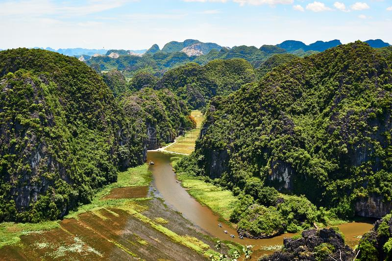 View from Mua Cave mountain in Ninh Binh Tam Coc. Amazing view from Mua Cave mountain in Ninh Binh Tam Coc royalty free stock photo
