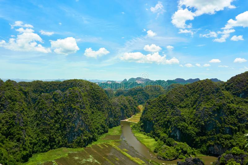 View from Mua Cave mountain in Ninh Binh Tam Coc. Amazing view from Mua Cave mountain in Ninh Binh Tam Coc royalty free stock image