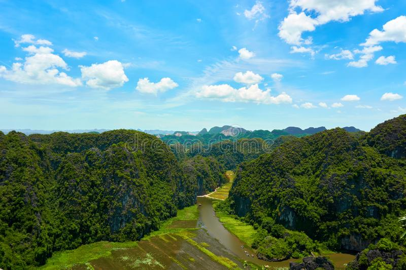 View from Mua Cave mountain in Ninh Binh Tam Coc. Amazing view from Mua Cave mountain in Ninh Binh Tam Coc stock photo