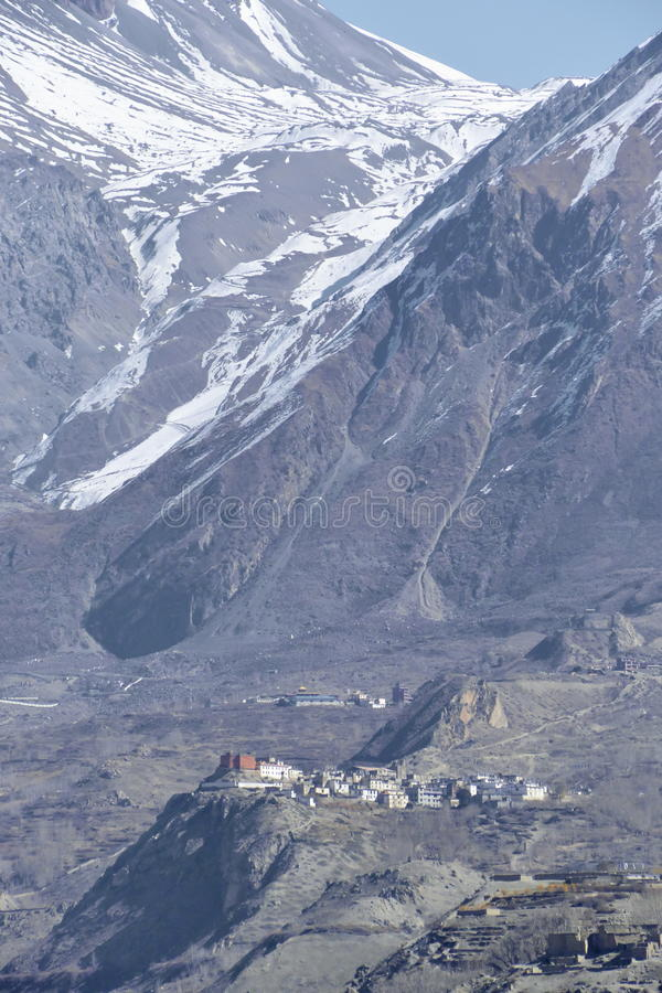 View of Muktinath village and Thorung La mountain pass in Annapurna Area, Nepal. November 2014 stock image