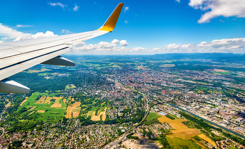 View of Mulhouse from an airplane - France. View of Mulhouse from an airplane - Haut-Rhin, France royalty free stock images