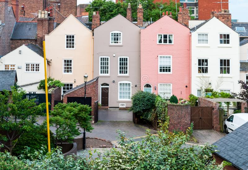 Multi coloured terraced houses in residential district. View of multi coloured terraced houses, Chester, England, UK stock images