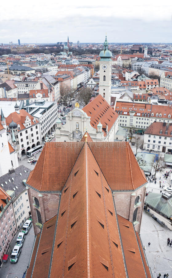 View of Munich city center. Munchen, Germany. View of historic Munich city center. Munchen, Germany royalty free stock image