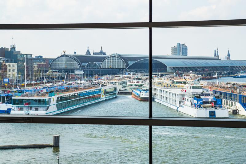 View from Muziekgebouw aan `t IJ, Amsterdam, the Netherlands royalty free stock photo