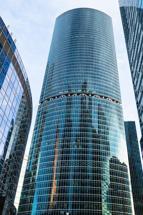 View of Naberezhnaya Tower in Moscow city stock photo