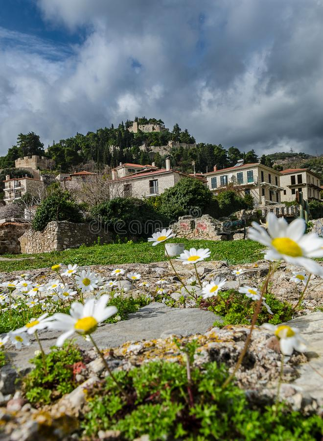 View of Nafpaktos, greece. View of historic buildings in the city of Nafpaktos, Greece royalty free stock photography