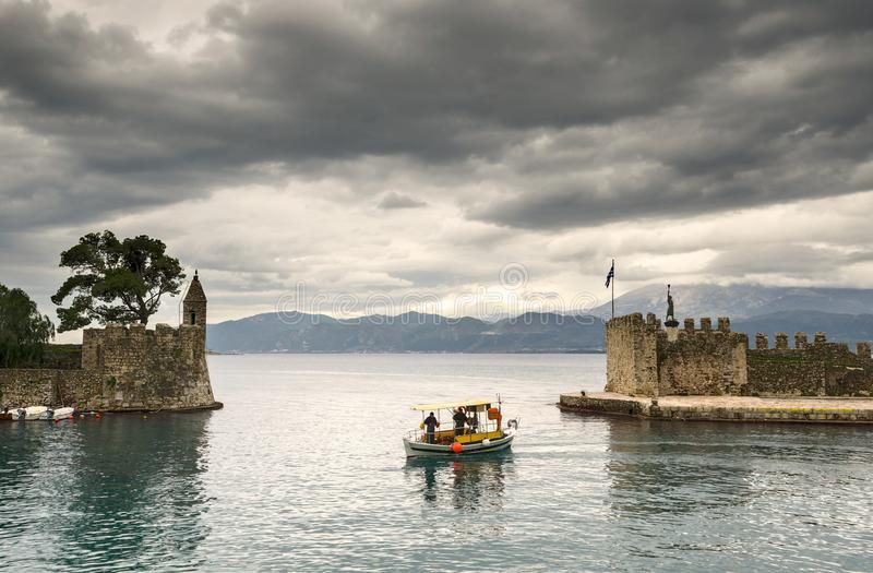 View of Nafpaktos, greece. View of a historic buildings in the port of Nafpaktos, Greece stock photos
