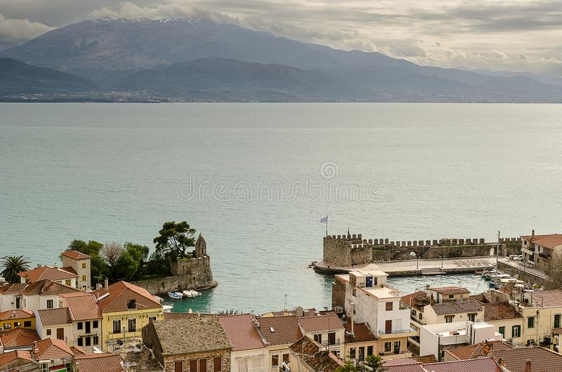 View of Nafpaktos, greece. View of historic buildings in the port of Nafpaktos, Greece royalty free stock photo