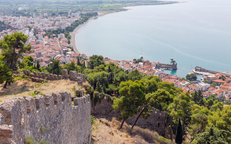 View of Nafpaktos town from the castle, Greece. Nafpaktos is a town and a former municipality in Aetolia-Acarnania, Greece stock image