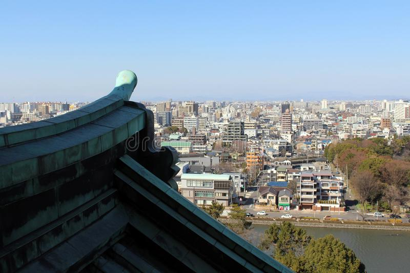 The view of Nagoya city from the castle complex. When old meets. Modern. Taken in Nagoya, Japan - February 2018 stock photos
