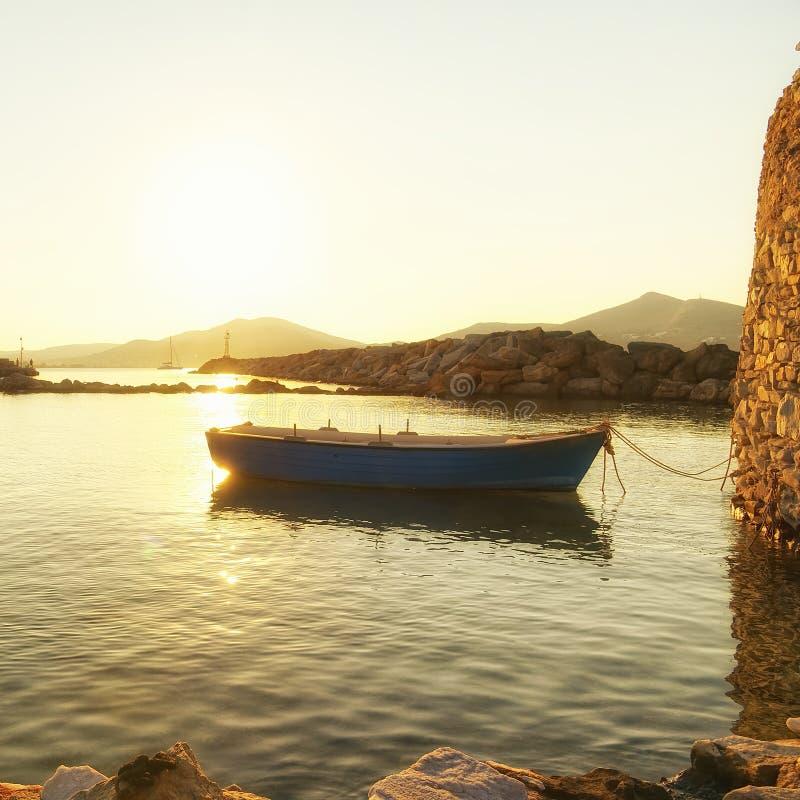 Naoussa village and harbor - Aegean Sea - Paros Cyclades island - Greece royalty free stock photography