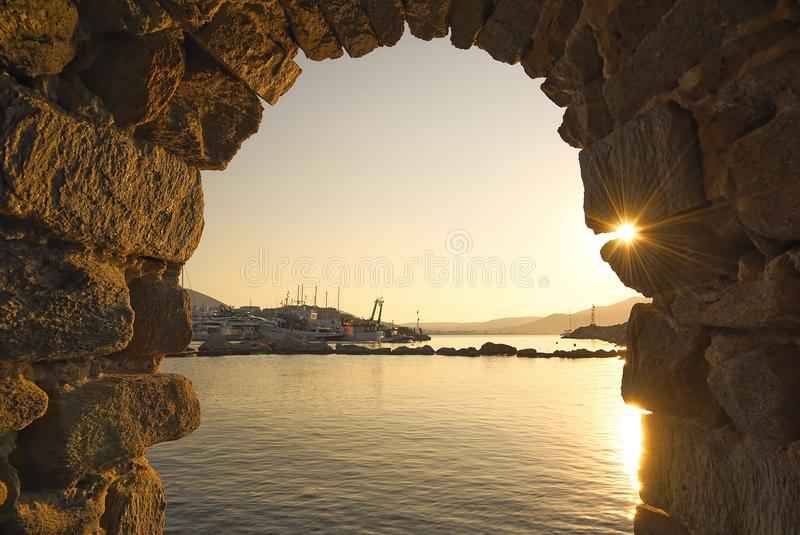 Naoussa village and harbor - Aegean Sea - Paros Cyclades island - Greece royalty free stock image