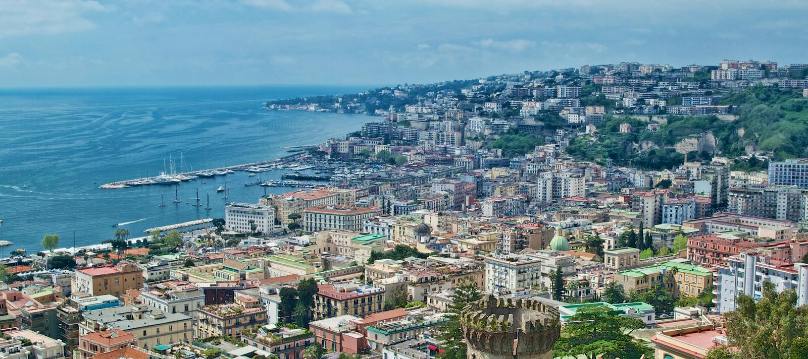 View of Naples with Americas Cup catamarans stock images