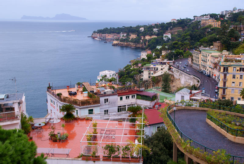View of Naples and the Isle of Capri stock photo