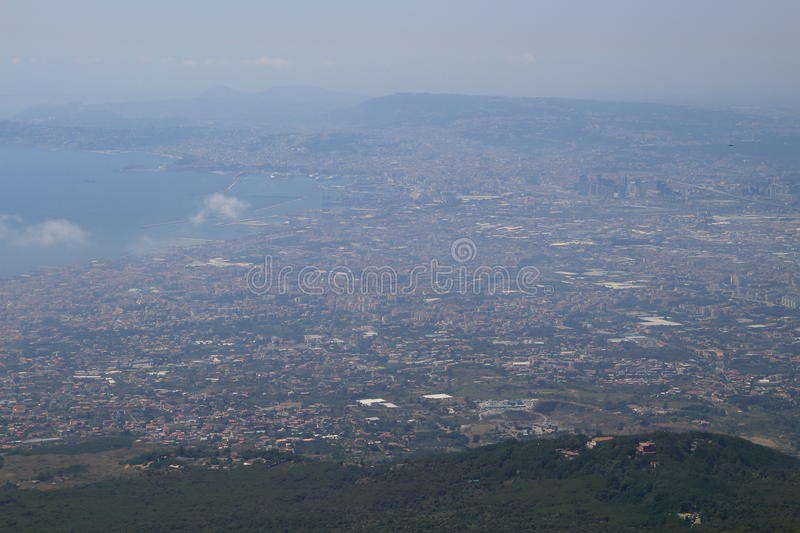 View of Napoli from Mount Vesuvius stock photography