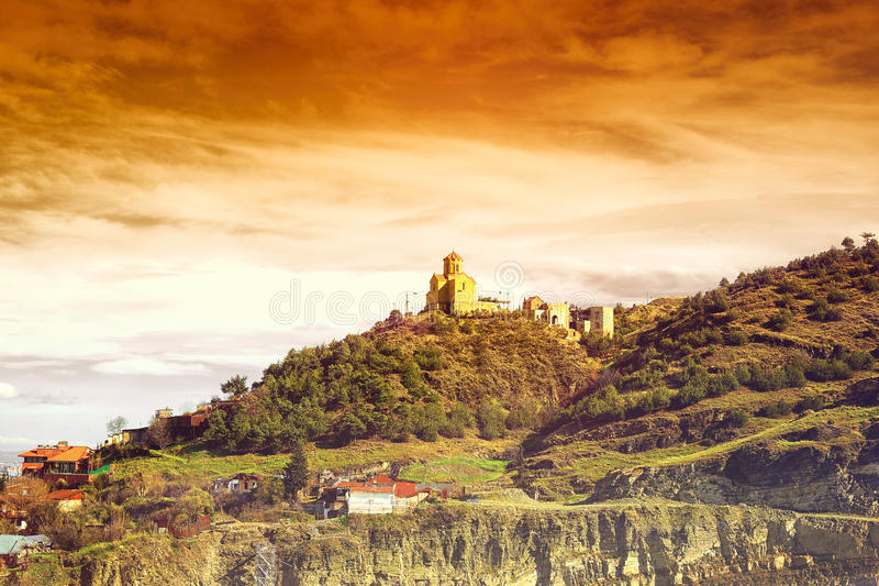 View from Narikala castle, funicular and Old Town of Tbilisi. royalty free stock photography