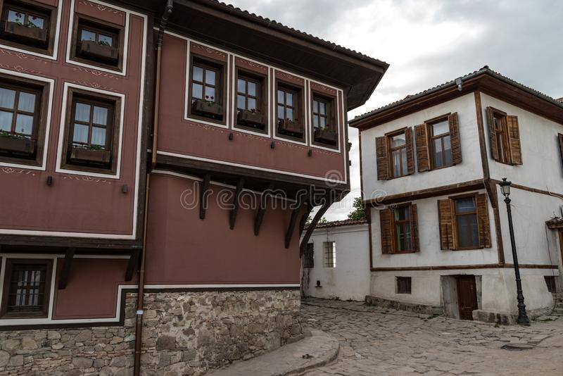 View of a narrow street in  historical part of  Plovdiv Old Town. Typical medieval colorful buildings. Bulgaria stock images