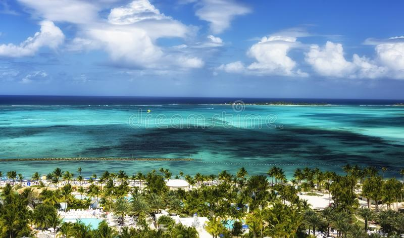 View of Nassau, Bahamas. Picturesque view of the Caribbean Sea and Nassau, Bahamas stock photography
