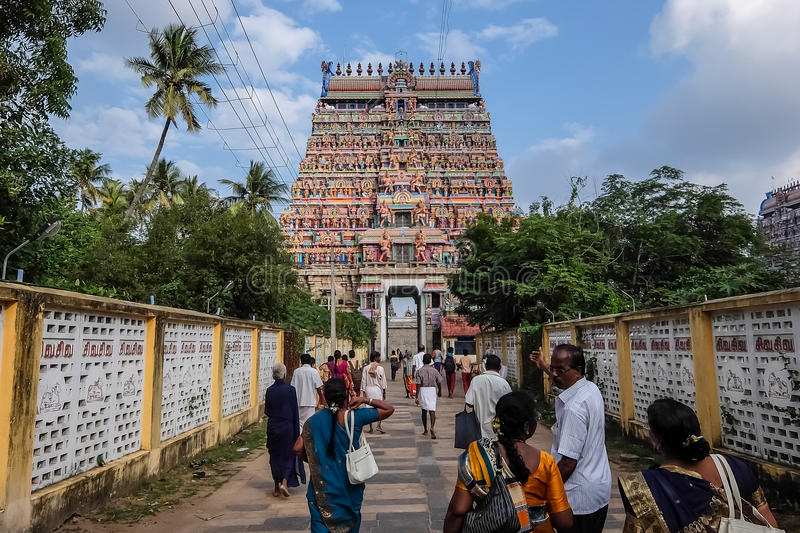 View of Nataraja temple, Chidambaram, India. Chidambaram, India - December, 16th, 2016. Entrance of Nataraja temple stock photography