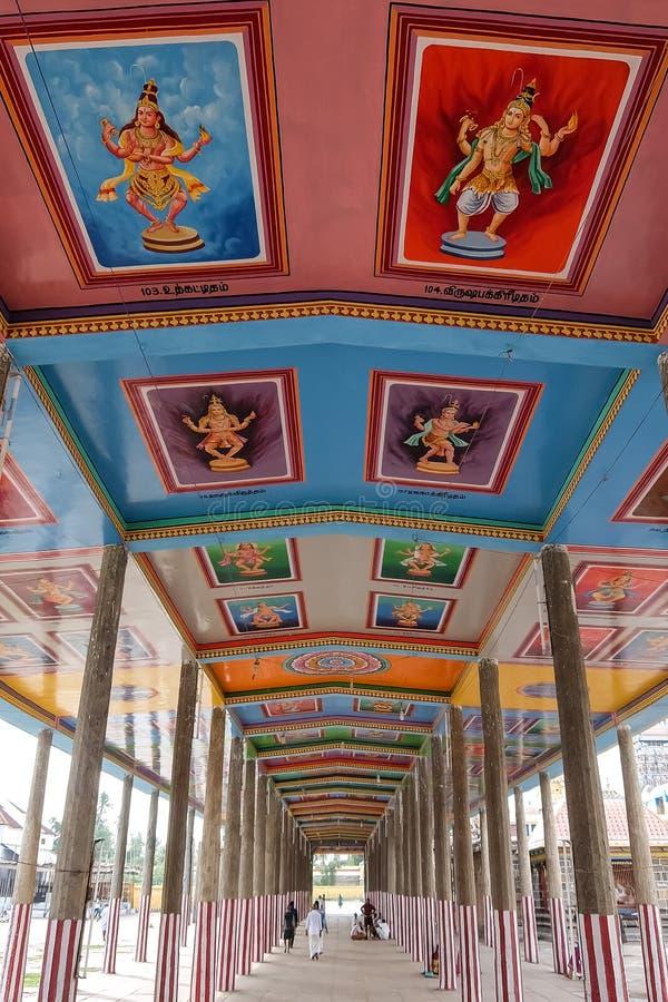 View of Nataraja temple, Chidambaram, India. Chidambaram, India - December, 16th, 2016. Inside of Nataraja temple royalty free stock photos