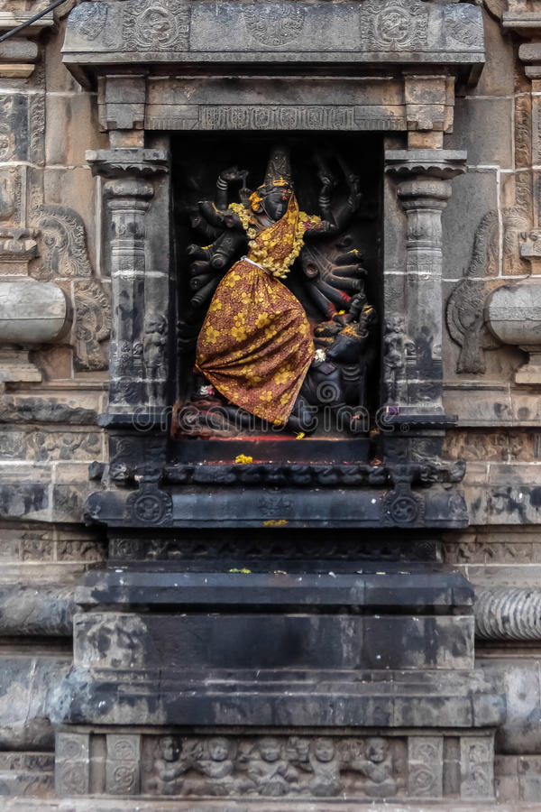 View of Nataraja temple, Chidambaram, India. Chidambaram, India - December, 16th, 2016. Inside of Nataraja temple royalty free stock photo