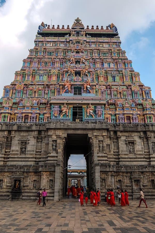 View of Nataraja temple, Chidambaram, India. Chidambaram, India - December, 16th, 2016. Inside of Nataraja temple stock photos