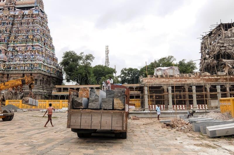 View of Nataraja temple, Chidambaram, India. Chidambaram, India - December, 16th, 2016. Inside of Nataraja temple stock photo