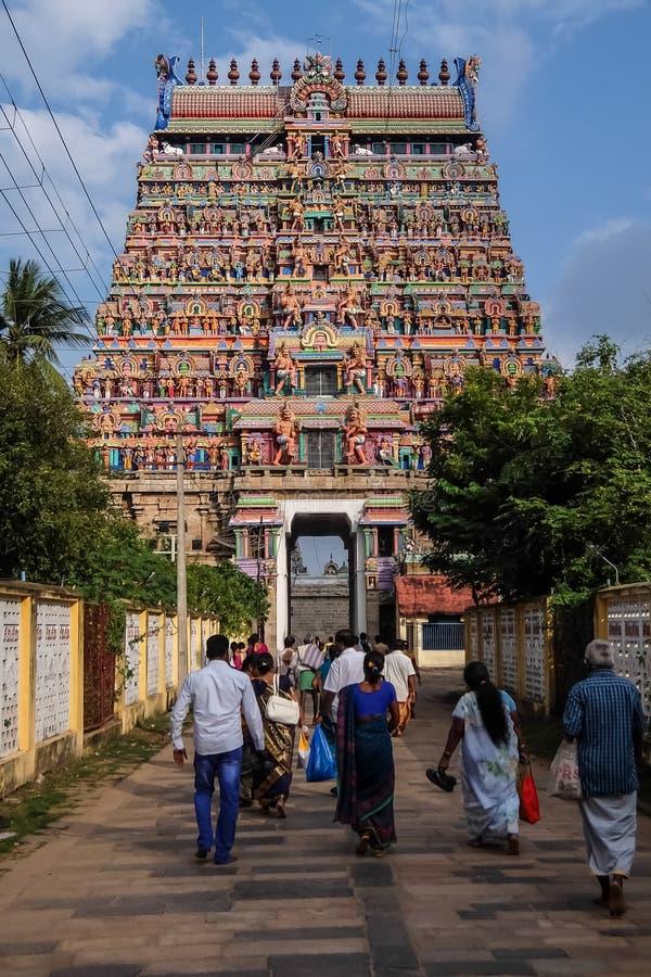 View of Nataraja temple, Chidambaram, India. Chidambaram, India - December, 16th, 2016. View of Nataraja temple stock photos