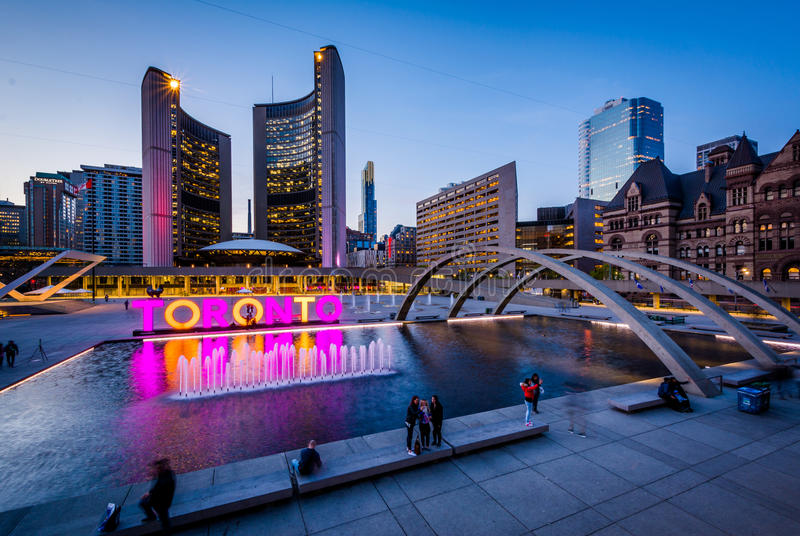 View of Nathan Phillips Square and Toronto Sign in downtown at t stock photo